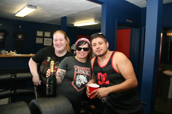 Dana and her friends Oscar and Kristen enjoying Saturday's WOD & BBQ