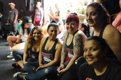 Debbie, Alicia, Dana, Gaby and Noemi cheering the A Team on.